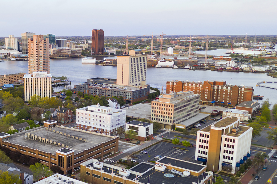 Contact - Aerial View Over Portsmouth Virginia Across the Elizabeth River to Norfolk