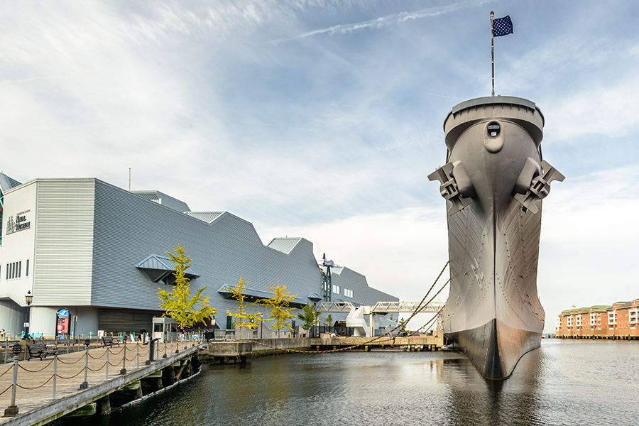 Norfolk, VA - Bow Shot of USS Wisconsin in the Chesapeake Bay in Norfolk, Virginia